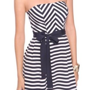 Forever 21 Blue/White Striped Strapless Dress